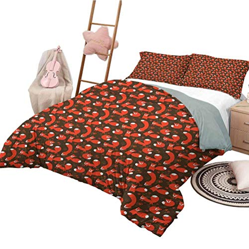 Quilt Cover Fox Girls Duvet Cover Set Paw Print Pattern Background with Childrens Cartoon Cunning Forest Animals Orange Army Green White King Size