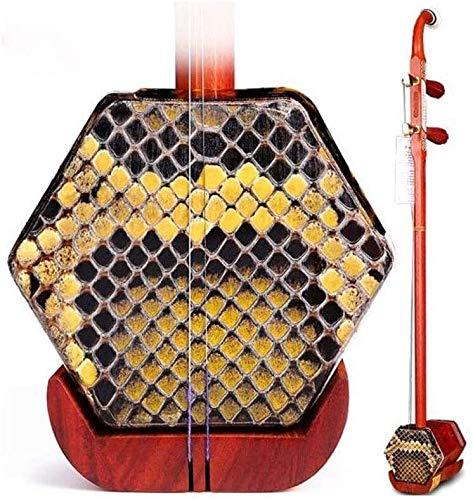 Erhu, Erhu Musikinstrument, Mahagoni-Knochen schnitzte Kupfer Shaft Erhu, Erwachsene Anfänger Musikinstrument, Hexagonal Ethnische Musikinstrument, mit Stoß- Box (Farbe: Palisander) DDLS