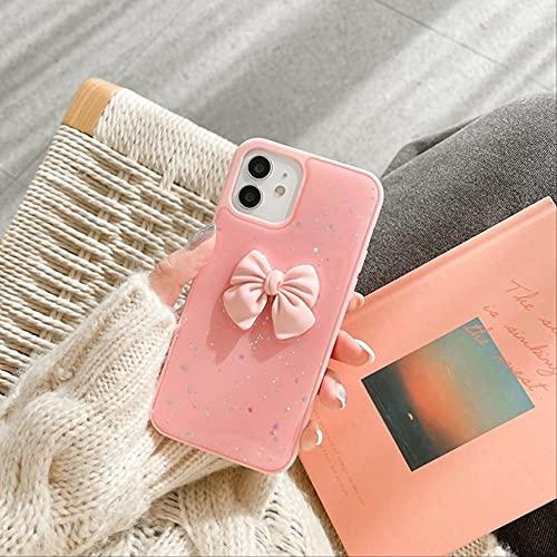 Estuche para teléfono de Lujo Twinkle Candy Bowknot para iPhone 11 12 Pro MAX XS X XR 7 8 Plus SE 2020 Mini Fundas a Prueba de Golpes para iPhone X Rosa