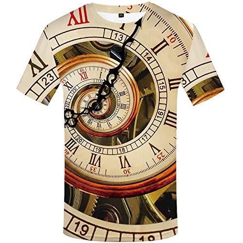NSBXDWRM 3D Printed Shirts,Unisex Creatieve Oude Klokken 3D Gedrukt Grafische Tees Tops Crewneck Korte Mouw Sneldrogende T-Shirts Voor Mannen Vrouwen Mode Paar Tees