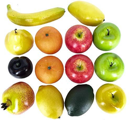 14PCS Lifesize Realistic Fruit Set - Fake Fruit for Decoration – NOT A Child's Toy - Set Includes Fake Apples, Oranges, Bananas, Limes