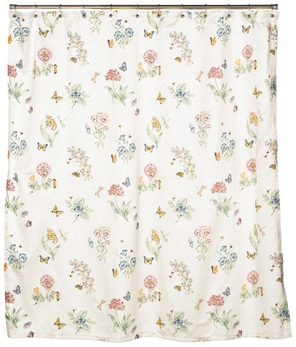 Lenox Butterfly Meadow Delicate vintage Floral Shower Curtain