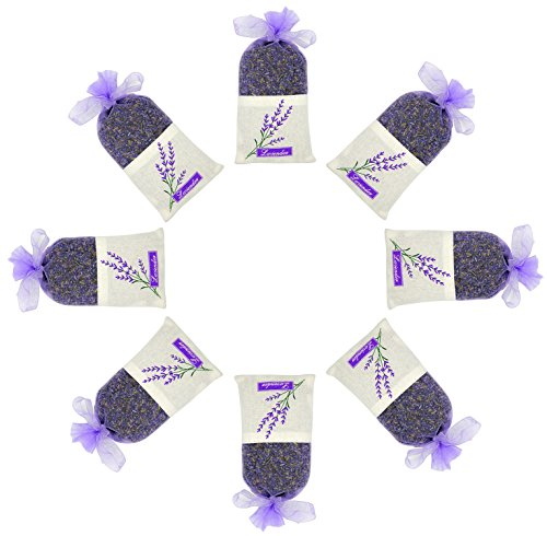 ESTAY Lavender Scented Sachet Fresh Dried Lavender Bag Moths Protection for Closet and Drawers Natural Air Purifying Freshener Bag (8 Big Pack)