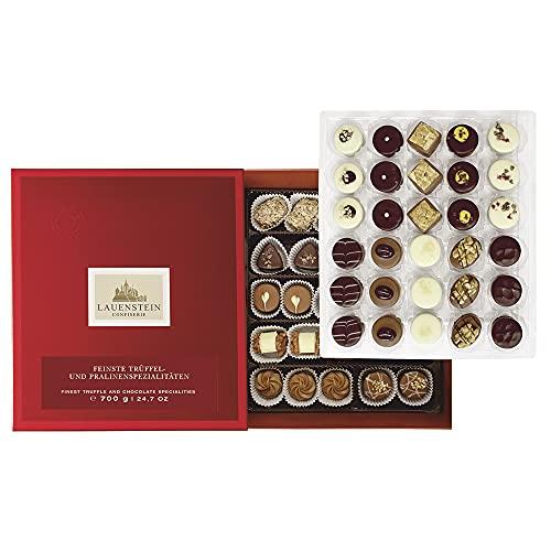 Lauensteiner große Pralinen-Auslese 700g in Geschenk-Schachtel - 58 feinste Trüffel und Pralinen in 21 Sorten mit/ohne Alkoholdas ideale Schokoladen-Geschenk
