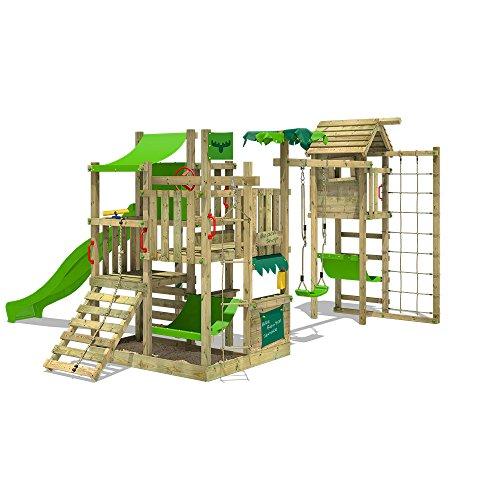 Fatmoose BananaBeach Big XXL Speeltoren, speelplaats voor kinderen, met torenaanbouw, incl. houten dak, schommel, glijbaan, zandbak, hangmat, klimnet en onbeperkte speelmogelijkheden