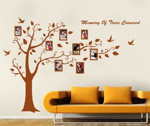 Huge Black/Brown Family Photo Frame Tree Branch & Leaves wall decal sticker (Brown) by WallStickersDecal