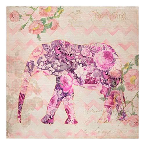 Bilderwelten Cuadro en Lienzo - Vintage Collage - Pink Flowers Elephant - 60 x 60cm - Canvas