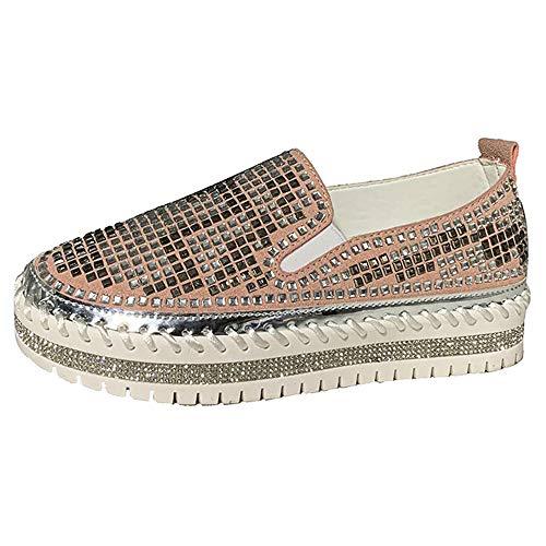 JXILY Zapatillas Mocasines Zapatos Planos de Moda Casual con Diamantes de Imitación Huecos Zapatillas de Skateboard Calzado Transpirable al Aire Libre,Rosado,36