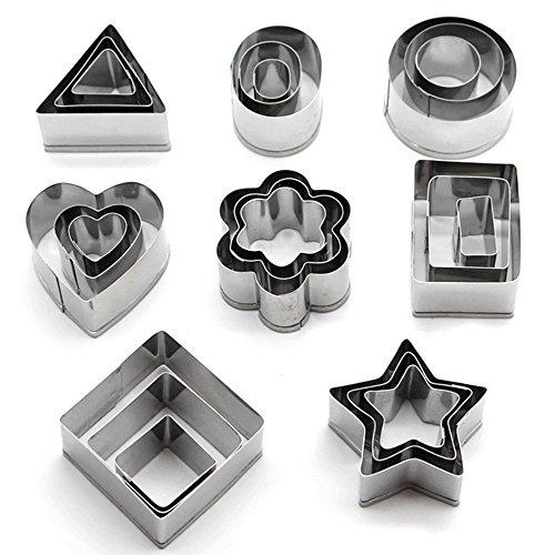Set di 24 stampi per biscotti in acciaio INOX (forme: cuore, fiore, stella, cerchio, quadrato, rettangolo, triangolo, ovale) da Kaishan