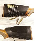 vsdfvsdfv Real Leather Rifle Ammo Cartridge Buttstock Holder Cover Cheek Rest Padded (Black Right)