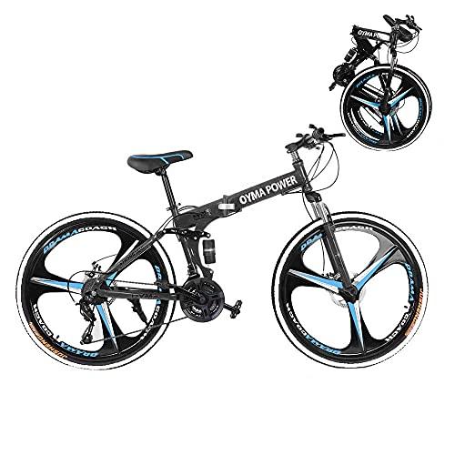 Mountain bike pieghevole, 26 pollici sport all'aria aperta in acciaio al carbonio MTB bicicletta, cerchio in alluminio, deragliatore posteriore a 21 velocità (blue-T01)