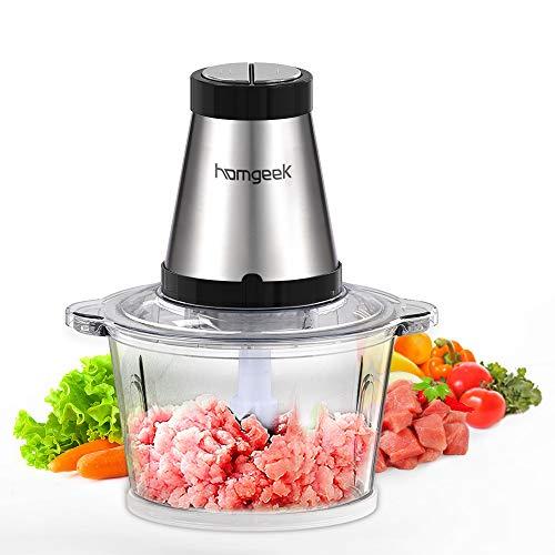 homgeek Tritatutto da Cucina Elettrico, Frullatore Tritatutto Multifunzione da 500 W con 4 Lame in Acciaio Inox, Funzionamento a Pressione, Mixer Cucina da Ciotola in Vetro, 2L