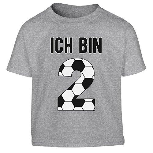 2 Geburtstag Fußball Geschenk - Geschenke für 2 jährige Kinder T-Shirt Junge 96/104 (3-4J) Grau