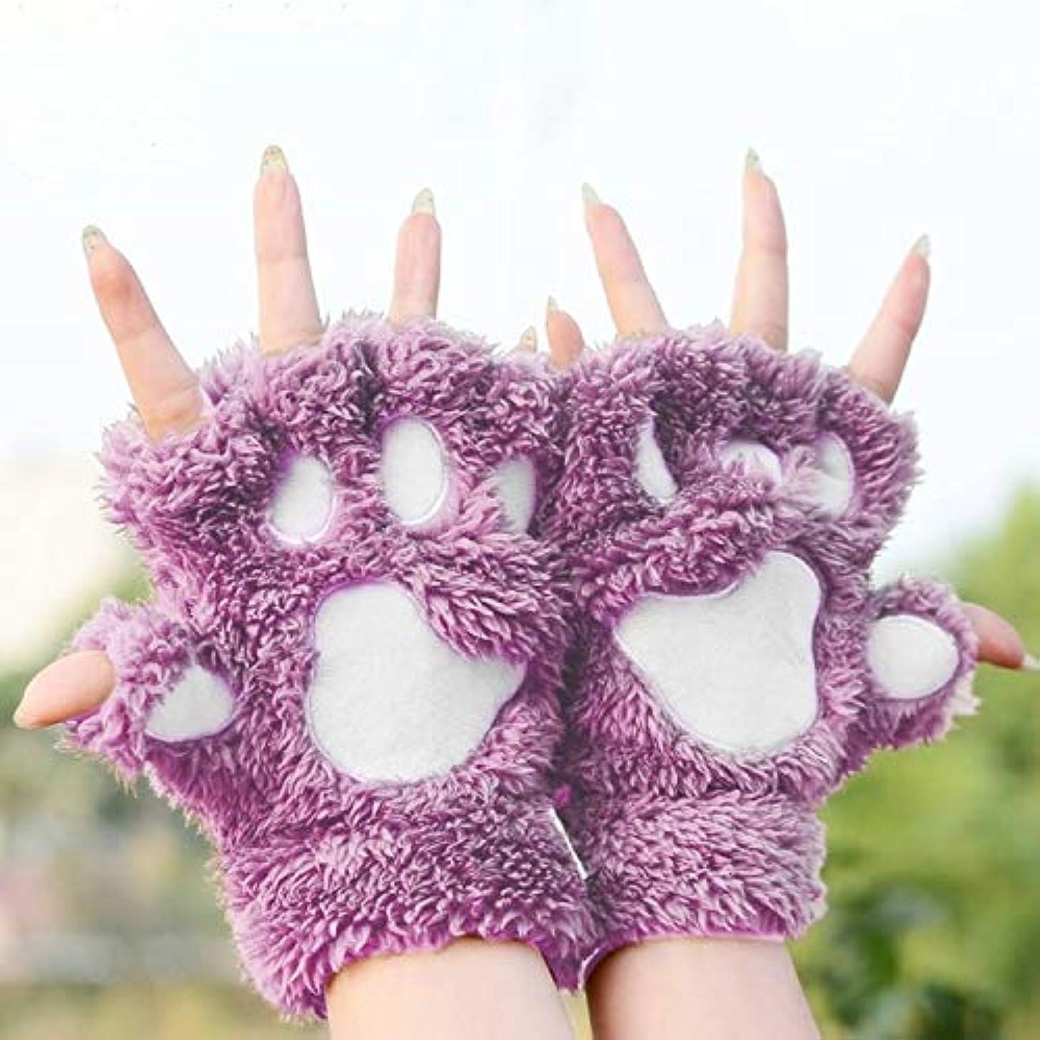 動かない帰る極貧BAJIMI 手袋 グローブ レディース/メンズ ハンド ケア 冬のラブリー漫画猫クローレディグローブ太いクイックDownlike足ハーフフィンガーグローブ 裏起毛 おしゃれ 手触りが良い 運転 耐磨耗性 換気性
