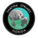 Tarpon Springs, Florida Manatees Embroidered Premium Patch DIY Iron-on or Sew-on Decorative Badge Emblem Vacation Souvenir Travel Gear Clothes Appliques