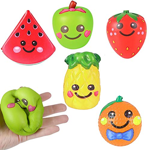 6 Squishy Toys for Kids Squishies Jumbo Slow Rising Pack Food Fruit, 3.75' - Stress Relief Fidget Soft Sensory Kawaii Toy Great Gift for Boys & Girls by 4E's Novelty