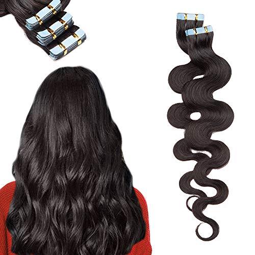 Extension Bande Adhesive Cheveux Naturel Ondulé 20 PCS - Rajout Vrai Cheveux Humain (#1B Noir naturel, 40cm)