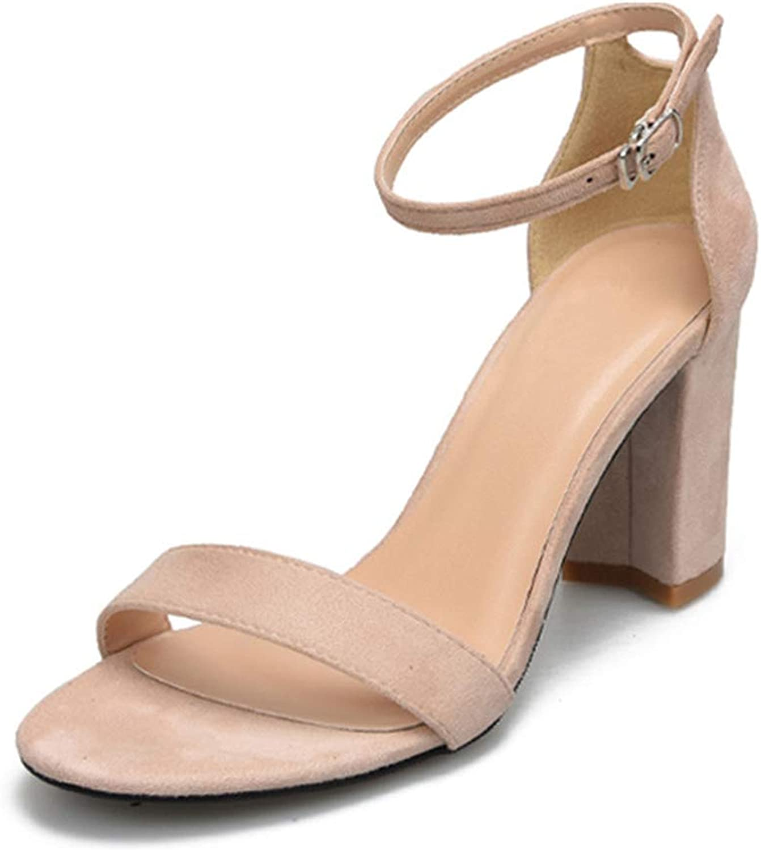 Ladies Sandals Summer Square Heels Sandals High Heels Buckle Strap Dress shoes Women Sandals Plus Size 32-41