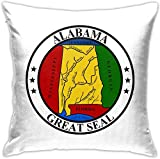 HOJJP Official Seal of Alabama Square Throw Pillow Covers Set Cushion Cases Pillowcases for Sofa Bedroom Car 18 X 18 Inch