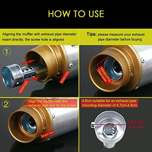 EFORCAR Exhaust Pipe Muffler, 2pcs Motorcycle Exhaust Muffler Adjustable Silencer 48mm