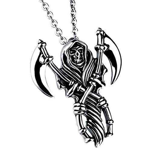 JewelryWe Stainless Steel Casted Grim Reaper Gothic Skull Biker Mens Pendant Necklace 22' Chain