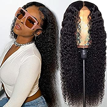 Felloey 13x4 Curly Lace Front Wigs Human Hair Pre Plucked Brazilian Virgin Kinky Curly Human Hair Wigs with Baby Hair 150% Density Wet and Wavy Lace Frontal Wig for Black Women Natural Color 20 Inch