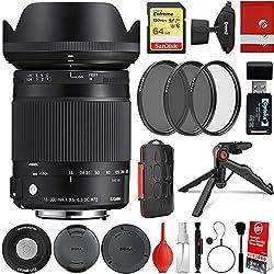 powerful Sigma 18-300 mm 1: 3.5-6.3 DC Macro OS HSM Contemporary Lens Canon EF-Mount Bundle, 64 GB…