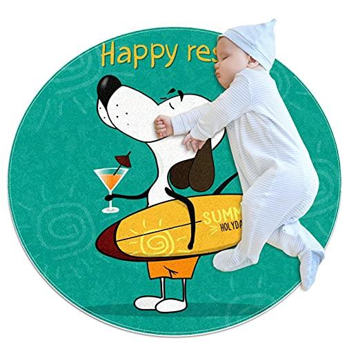 Alfombra Suave Redonda 70x70cm/27.6x27.6IN Alfombrillas Circulares Antideslizantes para el Suelo Alfombrilla para pie de Esponja Absorbente,Perro sosteniendo una Tabla de Surf y un cóctel