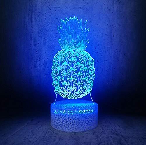 Lámpara de noche con forma de piña 3D ilusión Ananas Lámparas de dibujos animados para niños Iluminación de frutas, mesita de noche, teléfono con control remoto Bluetooth Colores