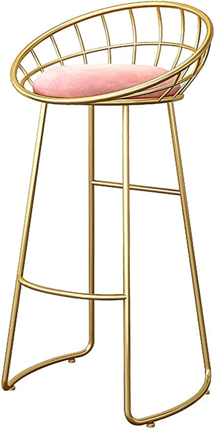 Nordic Wrought Iron Bar Stool Simple High Stool American Bar Stool Chair Bar Chair Bar Stool Chair - 3 color Optional (color   gold, Size   65CM)