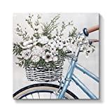 Abstract Flowers Artwork Canvas Print: Floral Bouquet in Bicycle Wall Art Painting on Canvas for Office Bedroom ( 24'' x 24'' x 1 Panel )