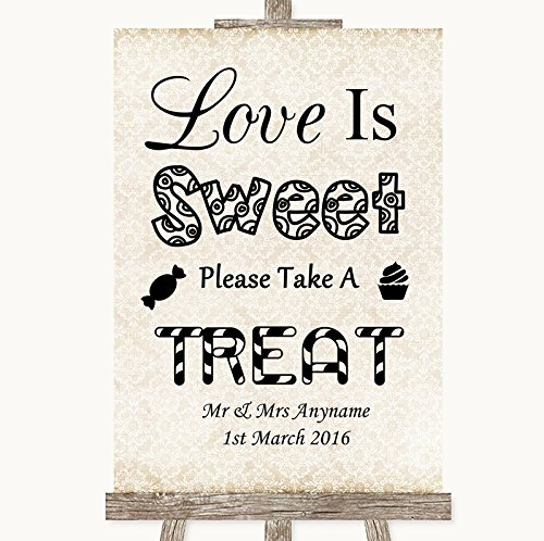 Shabby chique ivoor trouwbord collectie Shabby chique ivoor liefde is zoet nemen een behandeling snoep buffet bruiloft teken Framed Oak Small Ivoor