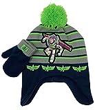 Disney Toy Story Buzz Lightyear Toddler Winter Hat and Snow Gloves for Boys 2 Pc. Set, Soft Mittens with Warm Pom-Pom Beanie