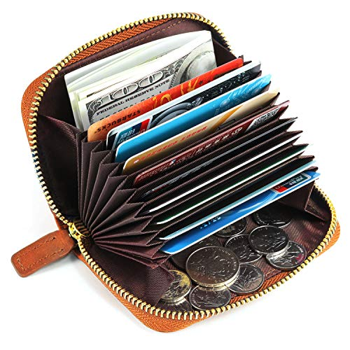 Kattee Porta Carte di Credito in Vera Pelle con Protezione RFID, Portamonete Vintage per Banconote