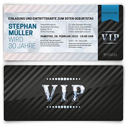 Einladungskarten zum Geburtstag (20 Stück) VIP Karte Ticket Einladung mit UV-Lack, edel