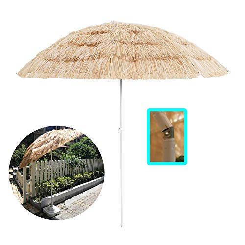 Aly Ombrellone da Spiaggia in Stile Hawaiano con Pulsante inclinazione/manovella 180 cm Parasole Finta Paglia