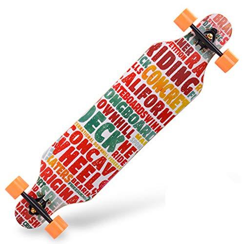 Fengyj 40 Inch Longboard Skateboard Komplettboard Drop-Through Cruiser Board Mit ABEC 11 High-Speed Kugellager Kapazit?T: 200Kg,Energy