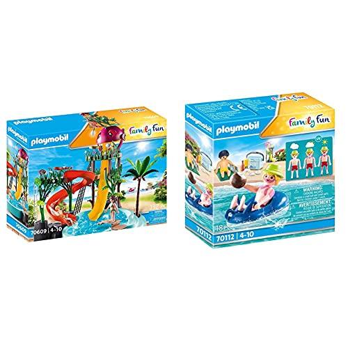 PLAYMOBIL Family Fun 70609 Aqua Park mit Rutschen, Zum Bespielen mit Wasser, Ab 4 Jahren & Family Fun 70112 Badegast mit Schwimmreifen, Schwimmfähig, Ab 4 Jahren