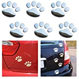 BONFINITY Adesivi Zampe Cane Gatto 3D per Auto Esterni | 6 Stickers Autoadesivi Impronte per Macchina colore Argento Decalcomanie 6cm x 7cm Tuning