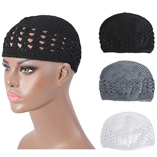 Qovelly 100% Cotton Lattice Crochet Knit Kufi Caps 3 Packed Skull Covers Hat(Set1)