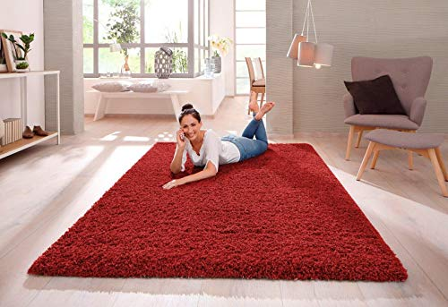 SHAGGY RUG 30MM / 3cm Modern Rugs Living Room Extra Large Small Medium Rectangular Size Soft Touch Thick Pile Living Room Area Rugs Non Shedding (Red, 160cm x 230cm (5.5ft x 7.5ft))