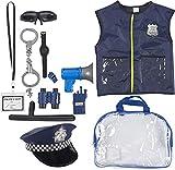 Blue Panda Uniforme de la policía para niños - 14-Piece rol de Vestuario Oficial de policía Juego Kit con Sombrero, Teatro de Colegio para niños y niñas