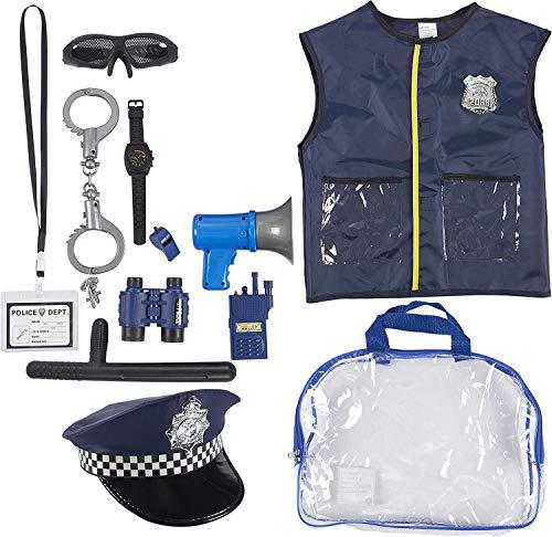 Polizeiuniform für Kinder – 14-teiliges Polizistenkostüm Rollenspiel-Set mit Hut, Weste, Handschellen, Tasche und anderem Zubehör für Verkleidungen, Halloween, Schulspielen für Jungen und Mädchen