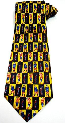 Elegance1234 Soie cravate homme avec Golf motifs jaunes