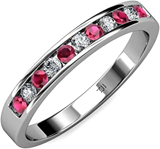 Ruby and Diamond 11 Stone Channel Set Wedding Band 0.36 ct tw in 14K Gold