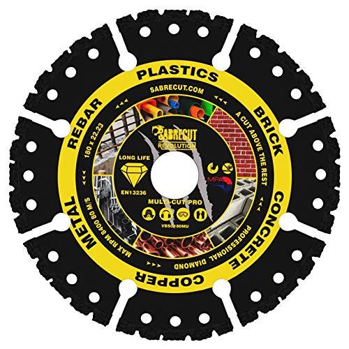 """1 x SabreCut VBSC180MU 180mm (7"""") x 22,23mm Diámetro de corte soldado al vacío Multi Material Sierra Circular Disco Disco de diamante Compatible con Bosch Dewalt Makita Milwaukee y muchos otros"""