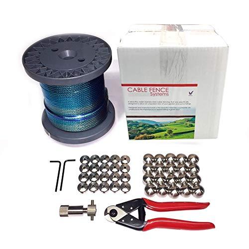 6 serre-câbles étrie et 2 tendeurs a cag SET 20m câble acier galvanisé 6x7 5mm