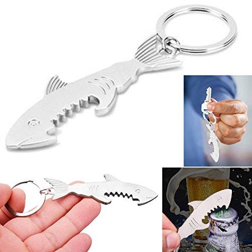 UOOOM Lot de 2pcs de Multifonction Métal Porte-clés en Forme Requin pour Tenue de clés Décoration Ouvre de Bouteille de bière (2pcs)