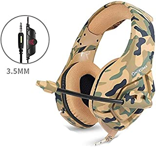 Gaming Headset Gaming Headset, 3.5mm Wired Gaming Headsets Stereo Sound Over-ear Headphone Noise Reduction Music Headphones with Microphone for PC New Xbox PS4 DS PSP (Color : Yellow)