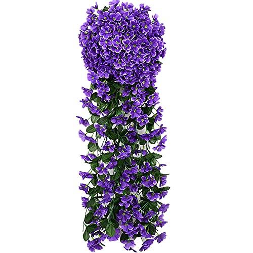 Cuisit 5petals - Fiori artificiali da appendere a forma di violetta, fiori artificiali da appendere, per matrimoni, casa, balcone, decorazione della casa (viola)